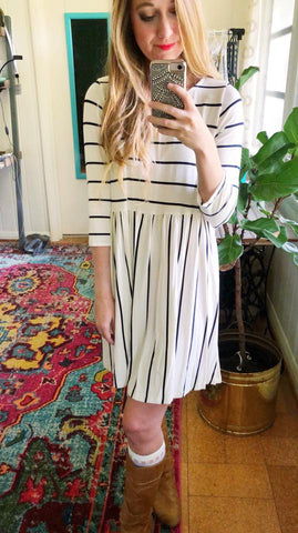 tickling the ivories - striped dress