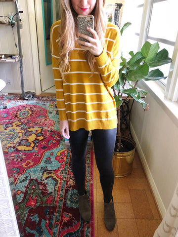 buttery soft - gold and white striped sweater