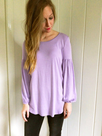 lavender fields - puffy sleeve tunic top