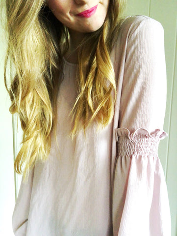 dusty rose - chiffon smocked sleeve top