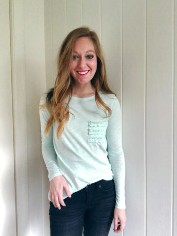 mint to be - ruffle pocket long sleeve tee