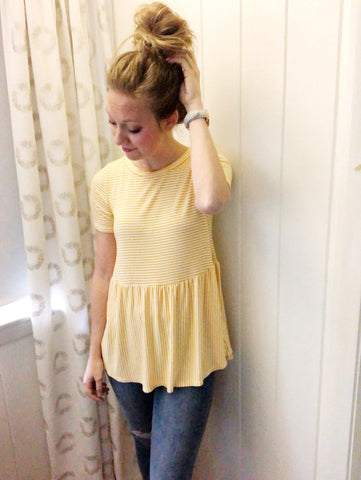 perfectly pinstriped - peplum tee (yellow)