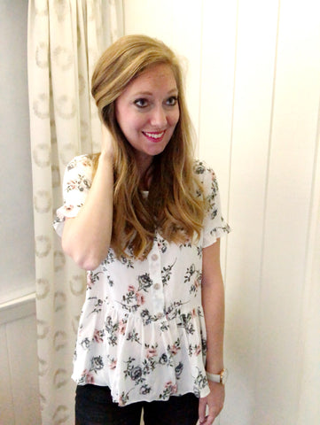 first bloom - floral peplum top
