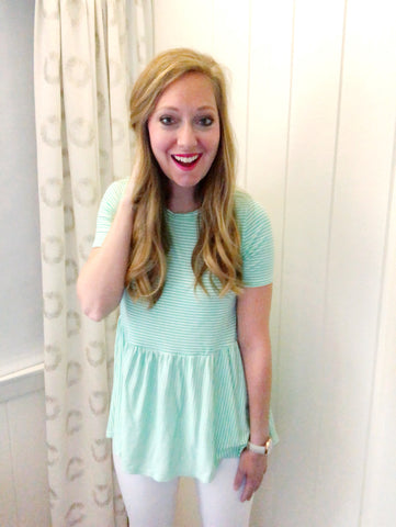 perfectly pinstriped - peplum tee (mint)