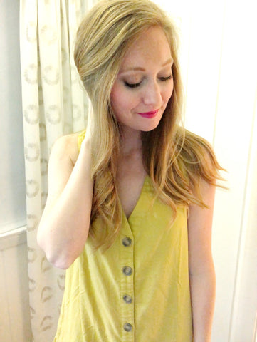 golden flare - button down ruffle dress