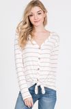 cozy rose - button down tie front tee