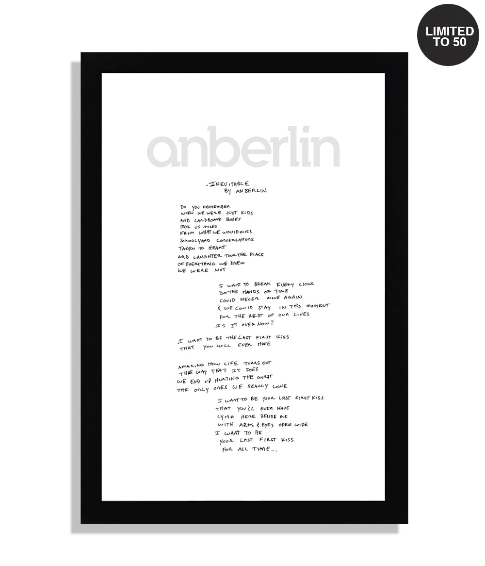 Anberlin Inevitable Framed Hand Written Lyric Print *PREORDER