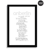 Anberlin Burn Out Brighter (Northern Lights) Framed Hand Written Lyric Print *PREORDER