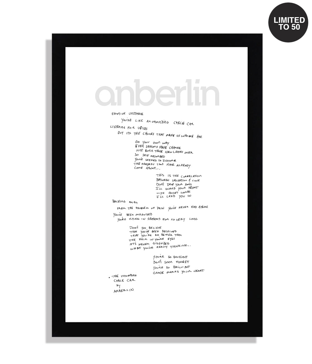 Anberlin The Unwinding Cable Car Framed Hand Written Lyric Print *PREORDER