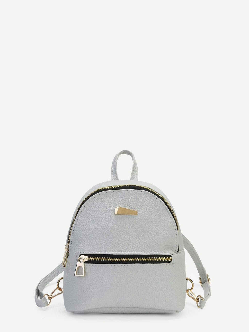 Metal Detail Front Zipper PU Backpack gifts, gift ideas