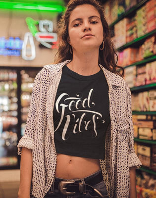 Good Vibes Ladies Crop top gifts, gift ideas