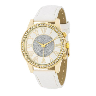 White Leather & Crystal Watch gifts, gift ideas