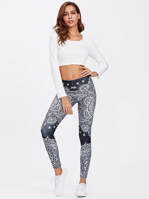 Ornate Print Leggings Women's Clothing