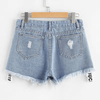 Letter Print Raw Hem Denim Shorts gifts, gift ideas