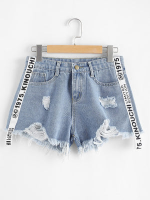 Letter Print Raw Hem Denim Shorts Women's Clothing