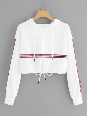 Striped Tape Panel Drawstring Detail Hoodie Women's Clothing