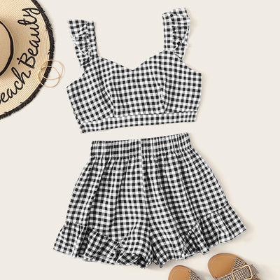 Ruffle Strap Top & Plaid Shorts Set Women's Clothing