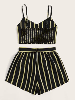 Striped Shirred Back Cami Top With Belted Shorts gifts, gift ideas
