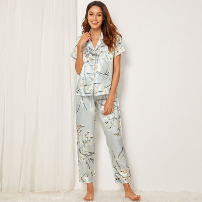Floral & Leaf Print Satin Pajama Set gifts, gift ideas