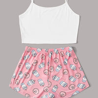 Cartoon & Letter Print Cami Pajama Set gifts, gift ideas