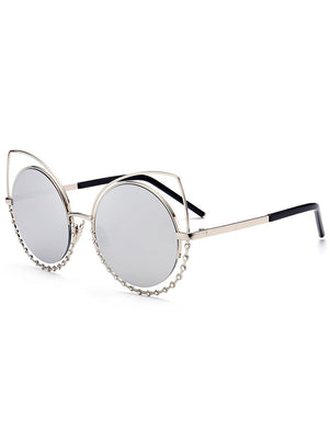 Metal Rhinestone Cat Eye Sunglasses Sunglasses