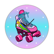Retro Rollerskates Print Wall Clock gifts, gift ideas