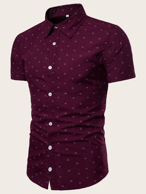 Men Anchor Print Curved Hem Shirt gifts, gift ideas