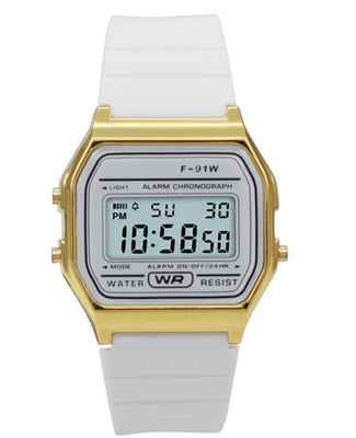 Sporty White Silicon Digital Watch Watches: Digital
