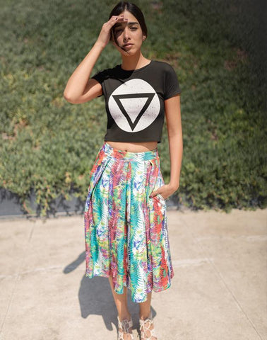 Geometric shapes White Women's Crop top Bella+Canvas 6682 gifts, gift ideas