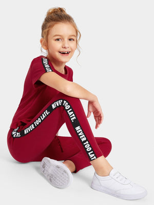 Girls Lettering Tape Top & Drawstring Waist Pants Set gifts, gift ideas