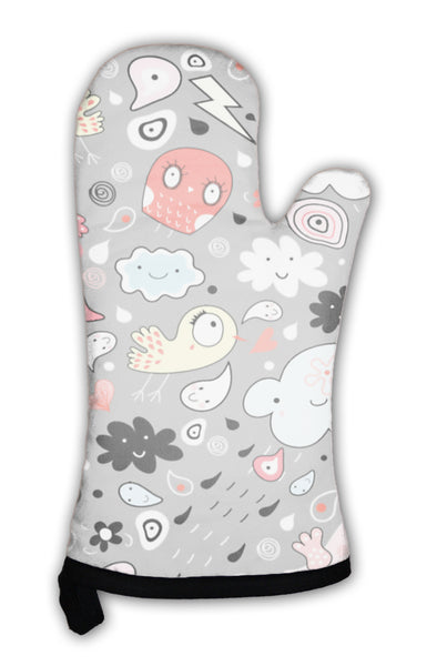 Oven Mitt, Funny Pattern Of Clouds Of Birds And The Elements