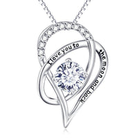 Love You To The Moon & Back Swarovski Elements Necklace in 14K White Gold