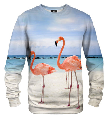 Flamingos On The Beach Sweater
