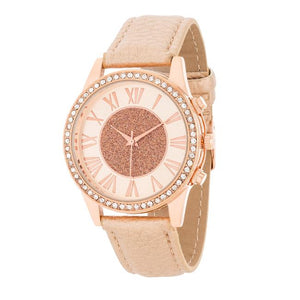 Rose Gold Leather & Crystal Watch gifts, gift ideas