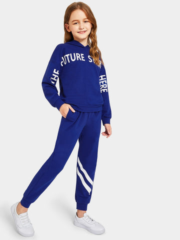 Girls Letter Print Hoodie & Striped Sweatpants Set gifts, gift ideas