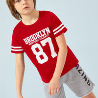 Boys Letter & Number Print Varsity Striped Tee gifts, gift ideas
