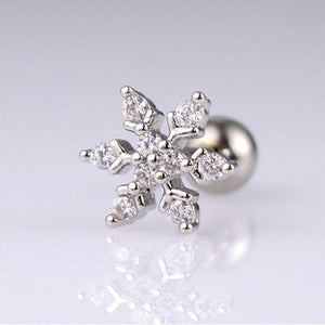 Snowflake Cartilage Earring / Christmas CZ Snowflake Tragus gifts, gift ideas