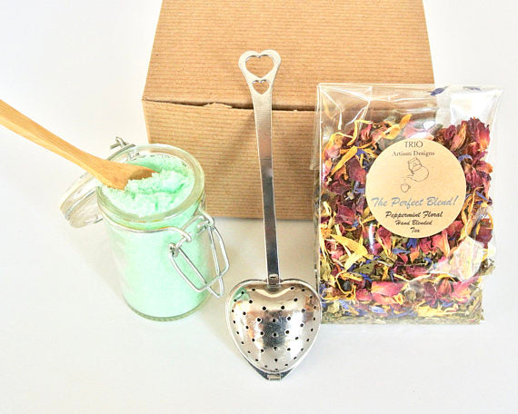 Mint Tea Gift Set with Peppermint Floral Tea gifts, gift ideas