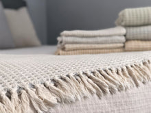 Load image into Gallery viewer, 'airloom' throws in large and mini with handloomed organic turkish cotton in a cozy weighted waffle gauze-like pattern