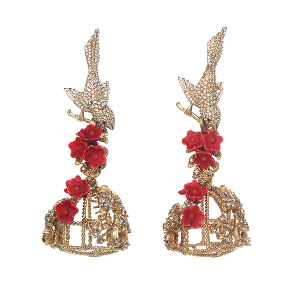 Lucky Red Flocking Birdcage Earrings