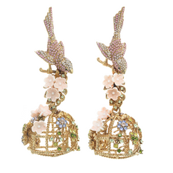 Blush Flocking Birdcage Earrings