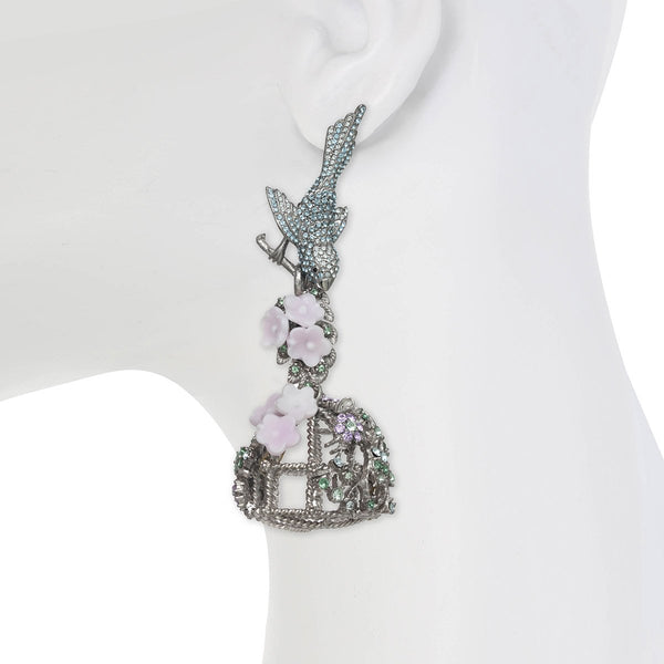 Flocking Birdcage Earrings