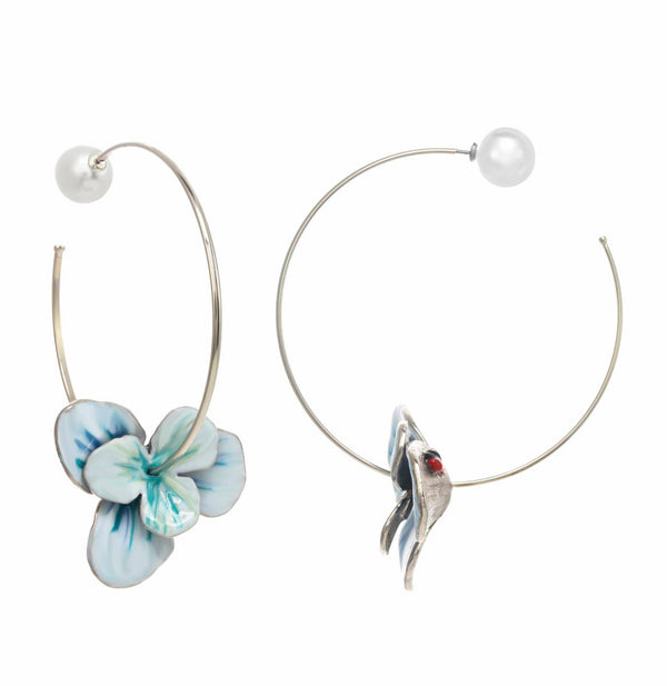 Double Flower Hoop Earrings