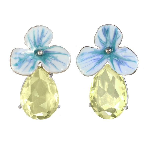MEDIUM RHINESTONE DROP FLOWER EARRINGS
