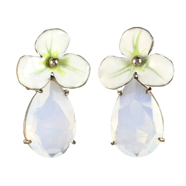 LARGE RHINESTONE DROP FLOWER EARRINGS