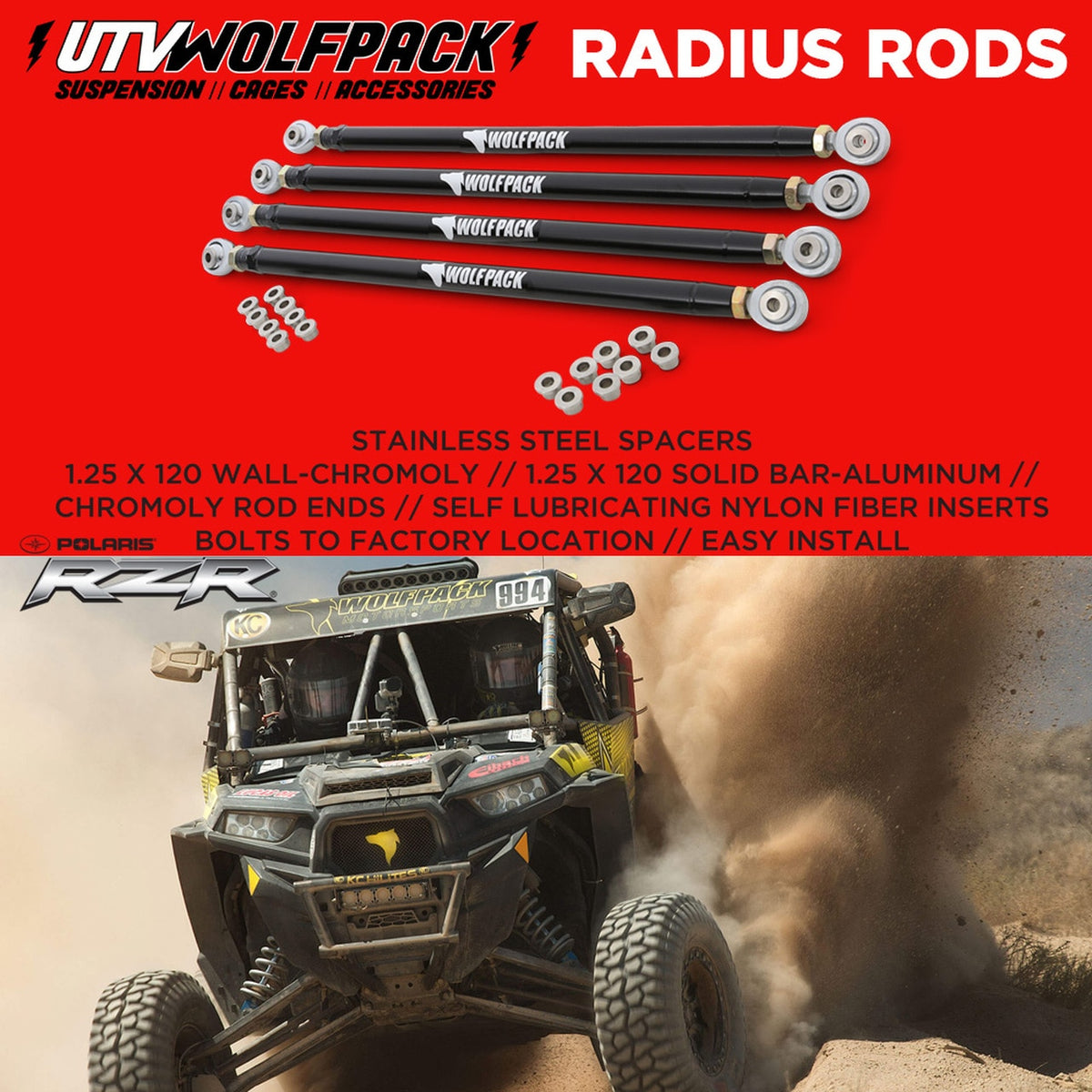 Polaris RZR Chromoly Radius Rods