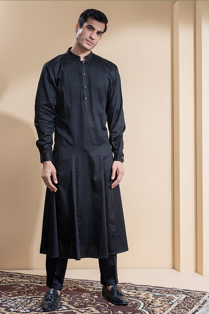 LEATHER KURTA SET WITH NEHRU COAT