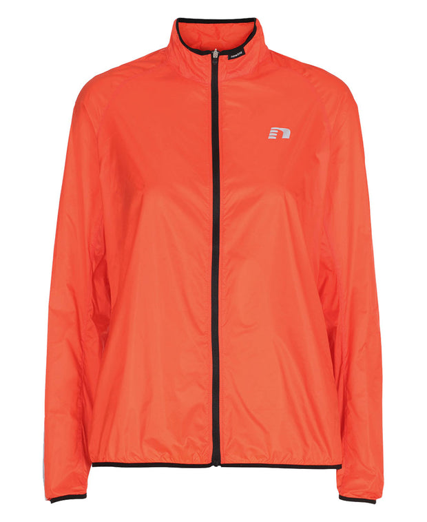 women's orange windpack jacket by newline for aktiv scandinavian running clothes front view