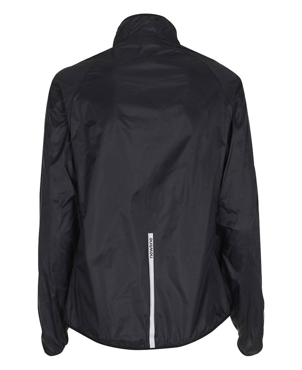 women's black windpack jacket by newline for aktiv scandinavian running clothes back view