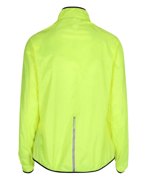women's neon yellow windpack jacket by newline for aktiv scandinavian running clothes back view